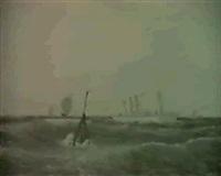 marine med store nordiske telegrafselskabs kabeldamper   'pacific', bygget pa b&w 1903 by c.v. bunch