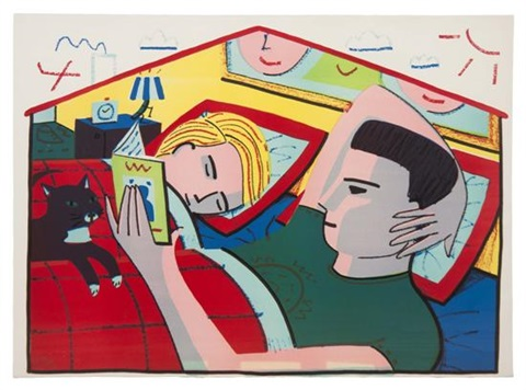 Image result for couple reading in bed painting