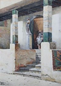 the entrance of a sheihk house, cairo by vittorio rappini