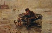 alter fischer mit seinem enkel am strand by friedrich (fritz) raupp
