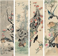 名花珍禽 (flowers and birds) (4 works) by jiang hanting