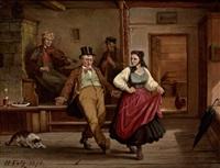tanzendes paar und musikanten in einer stube by hermann volz