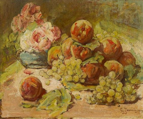 stillleben mit früchten und rosen by georges jeannin