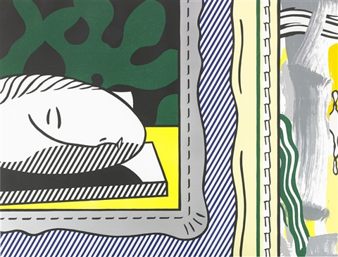 two paintings sleeping muse by roy lichtenstein
