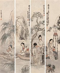 人物 (figure) (4 works) by xu yunxia