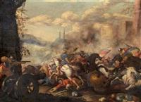 scena di battaglia in un paesaggio (+ scena di battaglia con fortilizio; pair) by antonio calza