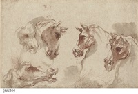 five studies of a horse's head (+ a standing soldier, verso) by aureliano milani