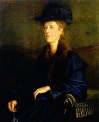 halbfigürliches portrait einer blonden dame mit lorgnon in der rechten by karl jobst