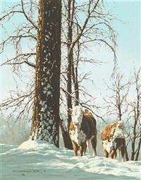 two cows by a tree in winter by richard gardner
