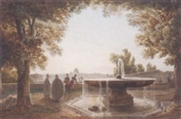 a view of rome from the terrace of the villa medici, a fountain in the foreground by jodocus sebastiaen van den abeele