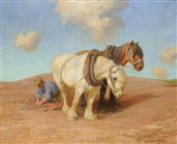 a team of plough horses with a figure by robert weir allen