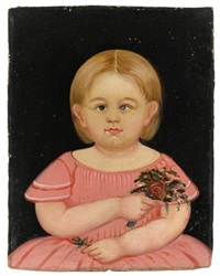 portrait of a little girl in pink holding bouquet by william kennedy