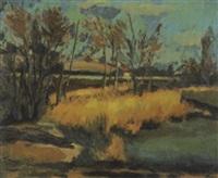 moorlandschaft mit gräsern und bäumen, dahinter häuser by jacques f. fuchs