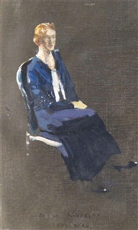 the lady mayoress, lady jenks (a study for the presentation to his majesty king edward viii of the charter of the master mariner's company) by john lavery