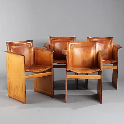 korium armchairs (set of 4) by tito agnoli