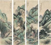 拟古四屏 (landscape) (4 works) by ren yu