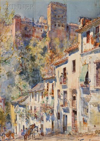 medieval mountain street with fortress above, and the bridge to the town (2 works) by george owen wynne apperley