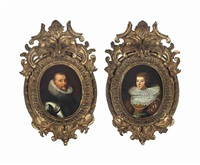 portrait of a gentleman, half-length, in armour with a ruff; and portrait of a lady, half-length, in a mustard slashed dress wearing strings of pearls (pair) by sir anthony van dyck