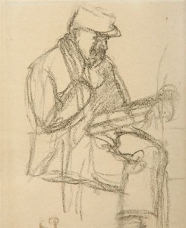 lhomme au journal by camille pissarro