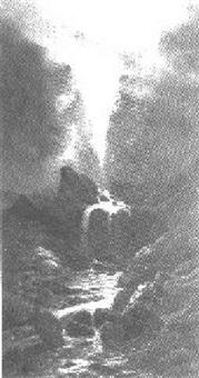 wasserfall bei eide an der straße nach ugi (norwegen) by gustave adolph amberger