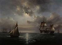 segelschiffe und dampfschiffe in mondnacht by john robertson reid