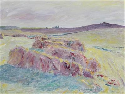 scene from bornholm with rocks and heather by sigurd swane