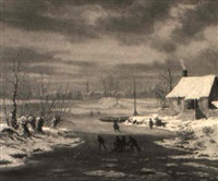 skaters and figures on a sledge in landscape by jacobus freudenberg