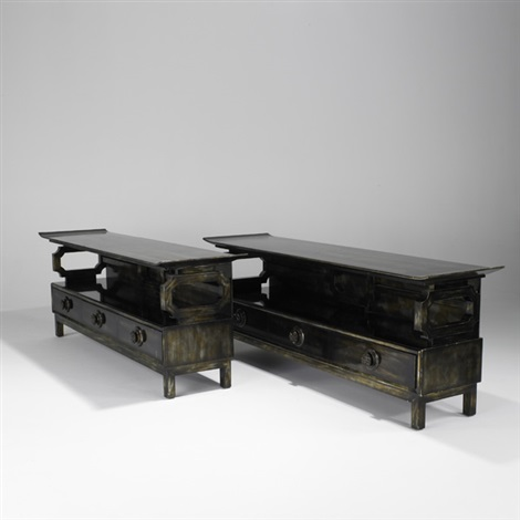 pagoda console tables pair by james mont