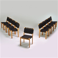 ten stacking side chairs, finland by alvar aalto