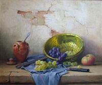 still life of grapes, apple, colander and pot by robert chailloux