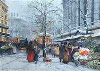 flower market, paris by eugène galien-laloue