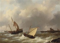 sailing ships in choppy water by johannes christiaan schotel