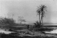 ägyptische landschaft mit hagar in der wüste by adolf henning