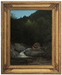 hikers at a waterfall by william g. boardman