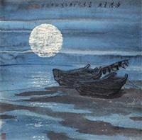 渔港月夜 镜片 设色纸本 by li haitao
