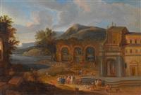 fischmarkt auf dem platz vor der kirche einer südlichen stadt by mathys schoevaerdts