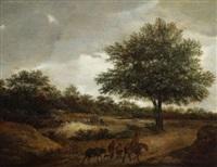 haarlemer landschaft. im vordergrund ziehende bauern, hinter den bäumen bauernhäuser by guillam dubois