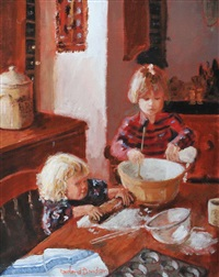 brother & sister baking by rowland davidson