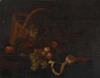 stillleben mit früchten, korb, einem weinglas und einem zinnteller mit garnelen und zitrone by bartholomeus assteyn