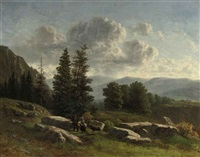 travelers in mountain landscape by louwrens hanedoes and charles rochussen