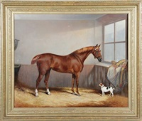 chestnut hunter and dog in a stable by edward lloyd
