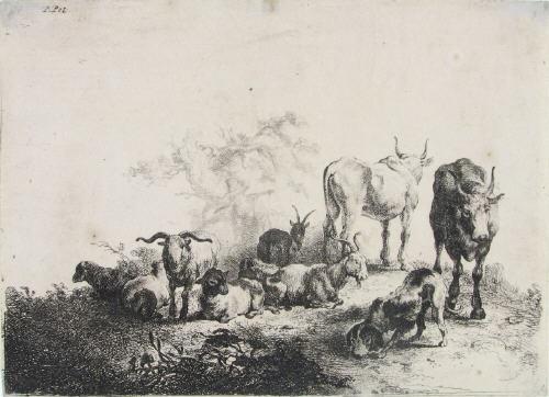landschaft mit viehherde und milchmädchen by jan van noordt