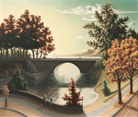 landscape with bridge by peter dülberg