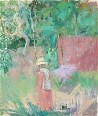 woman with straw hat in the garden by preben hornung