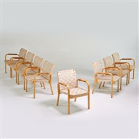 set of eight armchairs, finland by alvar aalto