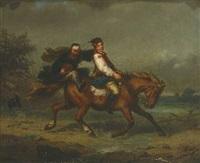 junger mann zu pferd wird von geldeintreiber verfolgt by theodor ziegler