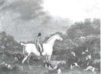 hunter with hounds by richard polydore nodder