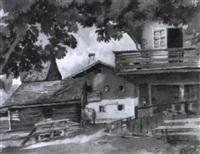 dorfplatz mit einem kastanienbaum by rudolf pichler