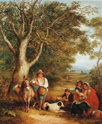 travelling family resting by woodside by arthur james stark