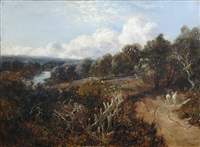 a drover with two grey horses on a country road, a river beyond by edmund john niemann